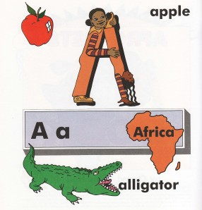 A is for apple, alligator and Africa.